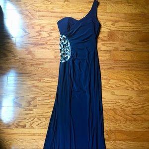 B. Darlin size 7/8 navy cold shoulder long dress.